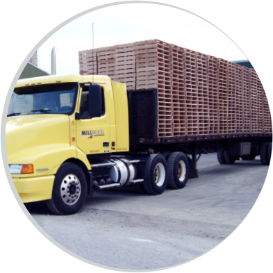 new wood pallets from Millwood, Inc. being shipped on a truck