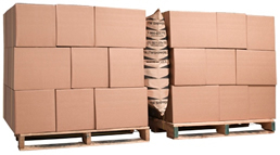 dunnage shipping airbags protecting products on wooden pallets